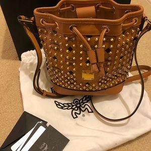 MCM Studded Visetos Mini Bucket Bag